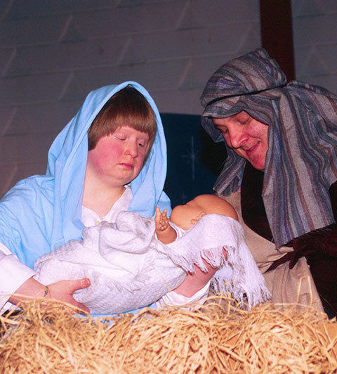 Church Member Representing the Birth Of Jesus